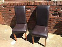 2 brown dining leather chair