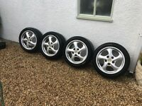 4 x Original 17 inch Porsche Turbo Cap Alloy Wheels with Pirelli P Tyres