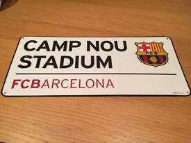 Barcelona F.C. metal street sign
