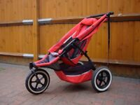PHIL & TED DOUBLE BUGGY WITH EXTRAS INCLUDING EXTRA SEAT, BABY COCOON AND DOUBLE RAIN COVER.