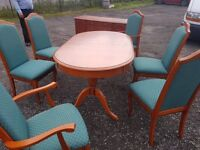Rose wood table 6 chairs and matching sideboard