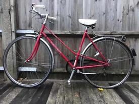 Red Retro Step Through Town Bike for Ladies (Vintage Peugeot)