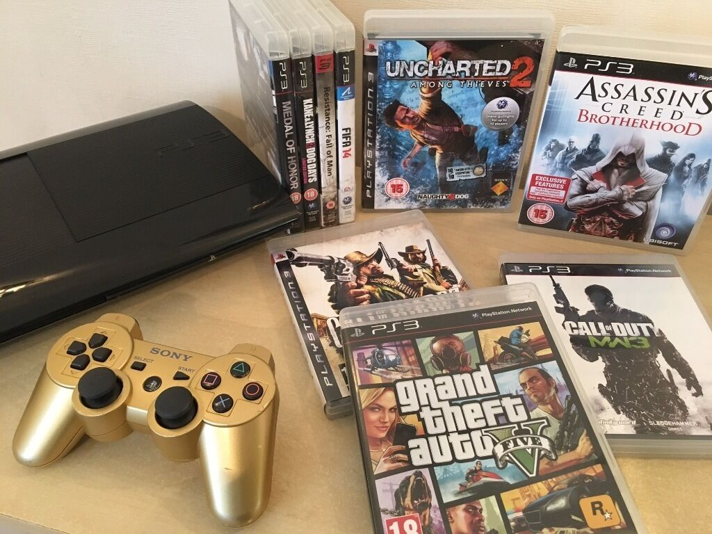 Ps3 super slim console limited edition gold controller 9 huge playstation 3 games inc gta v - Ps3 limited edition console ...