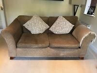 M&S brown tweed 4 seater and 3 seater sofa with matching footstool. Clean and in good condition