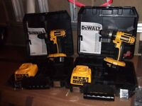 TWO DEWALT DC 725 COMBI DRILLS EACH WITH CASE, CHARGER AND 1 BATTERY + MANUAL, BOTH GOOD CONDITION