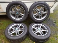Set Genuine BMW Alloy Wheels 16 Very Good 225 50 16 Tyres Reconditioned 5 Stud