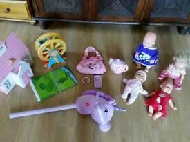 Girls toys baby dolls, hobby horse, fisher price kettle & handbag, dolls house, Elc fairground etc