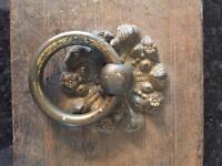 Large old early Victorian oak door box plus dead lock complete with door handle .