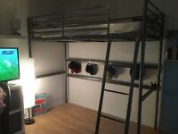 Silver Loft bed frame from Ikea, Great condition with instructions for easy assembly