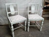 White Painted Chairs with stylish Material!! + Wax. Wooden furniture