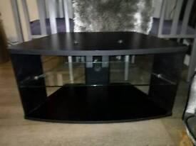Tv unit black wood and glass