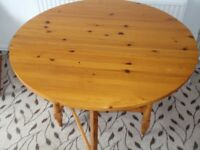 Round Drop Leaf Pine Kitchen Table