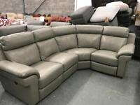 High retail grey leather corner suite with matching 2 seater sofa