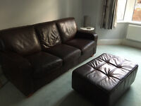Genuine dark brown leather 3 seater sofa and large footstool