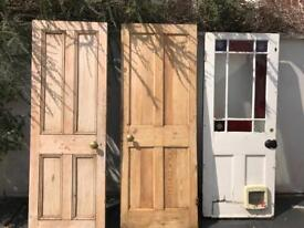 3 original victorian pine doors panel and glazed