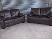 Two matching Brown Leather 2-seater Sofas