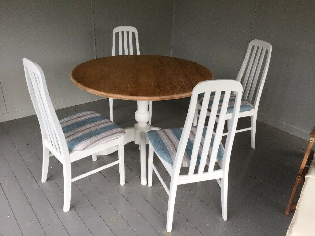 Dining Table And 4 Padded Chairs Blue Cream