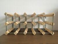 NEW Wood & Metal Minimalist 12 Bottle Wine Rack Storage Unit Kitchen Cellar