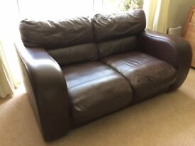 JOHN LEWIS Brown Leather Medium Sofa - Excellent Condition - Barely Used