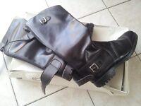Motorbike Leather Boots, Vintage Style Retro