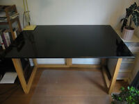 Habitat Kusa Black Gloss Desk Table Oak Trestles