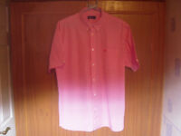 MENS XL PINK CHECKED FRED PERRY SHIRT.