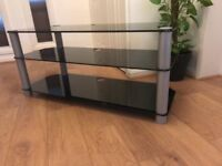 3 Tier black glass tv stand 55""