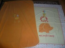 Mothercare My Jungle Family Cotbed Duvet Cover and cotbed blanket
