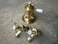 Pair of Brass Bath Taps & Thermostatic Shower Mixer