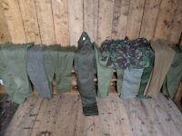 TROUSERS army military surplus green trousers x11 mens collection paintball British Brighton cadets