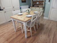 VINTAGE SHABBY CHIC PINE DINING TABLE & 4 BEECH CHAIRS