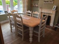 Gorgeous Shabby Chic Farmhouse Table and Chair Set- 6ft x 3ft - White-Grey-Cream