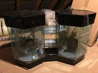 Double hexagon fish tank with accessories