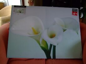 Large picture on canvas of white flowers - never been hung - still in cellophane