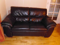 Set of 3 and 2 Seater Chocolate Brown Leather Sofas