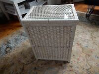 Can Deliver BEDSIDE TABLE WITH GLASS TOP Vintage Wicker Rattan Basket Storage Toys Laundry Bin