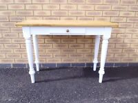 New Solid oak top and painted Console Table with draw