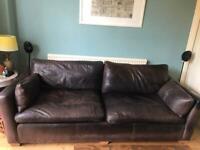 Sofa Workshop 4 seater brown leather sofa