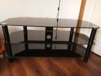 Coffee Table Unit Black TV stand cabinet Heavy Duty Glass Solid Tableware Excellent Condition!!