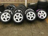 "4x100 15"" White Alloy Wheels 6.5J ET40 195/50/15 Tyres MX5 Honda Civic"