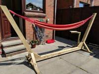 Wooden hammock with frame sun outdoor garden patio lounger