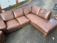 Brown Leather Corner Sofa & Arm Chair