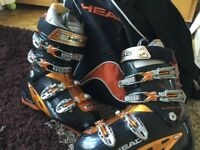 Men's Head ski boots size 26/26.5 approx size 8 with as new matching head boot bag