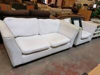 Modern cream fabric 2 seater sofa with matching armchair