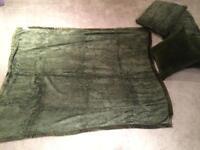 Soft Green Throw Blanket and 2 Pillows