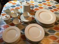 6 piece dinner service and matching tea set.