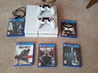 White ps4, 2 controllers, charger lead, 5 games