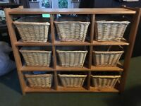 Pine storage unit with wicker baskets for sale