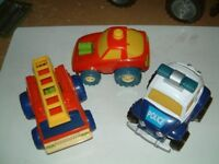 3 Push along cars with engines that wobble when pushed, good used condition