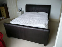 Double Bed; Brown Leather Mandalay Slay Bed, 2 Drawer with Sensoform 2000 Spring Memory Mattress